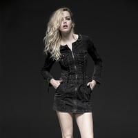 Steampunk Women England Style Black Sexy Bodycon A Line Dress Gothic Vintage Punk Rock Black Slim
