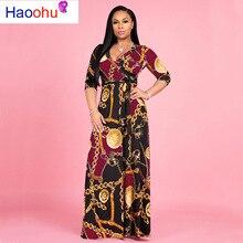 HAOOHU весенне-летнее женское платье, сексуальные платья для вечеринок, Vestidos размера плюс, с перекрестным v-образным вырезом, с принтом, Бандажное, с большим подолом, свободное Макси платье