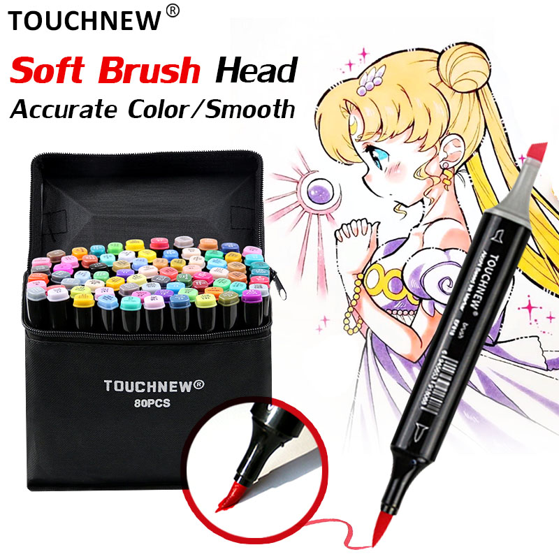 TOUCHNEW Markers-Pen-Set Alcohol-Based-Markers Art-Supplies Soft-Brush Manga Drawing