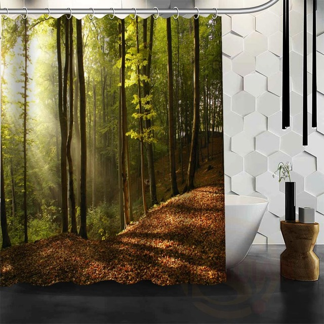 Best Nice Custom Forests Road Landscape Nature Shower Curtain Bath Waterproof Fabric For Bathroom MORE
