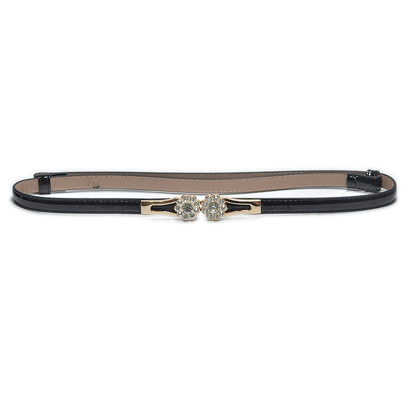 Luxury Rhinestone Flower Black Leather Adjustable Women Belt Slim Ceinture Femme Ladies Waist Belt For Wedding Party Bg-735