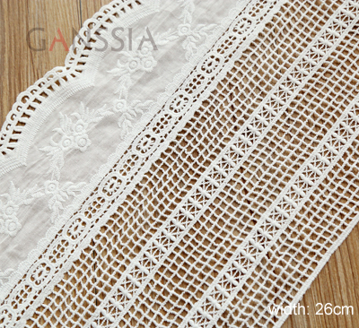 1Yard Width:26cm Vintage flower design fabric lace Net for garment Ivory color cotton lace trims Cloth scrapbooking(ss-4926)
