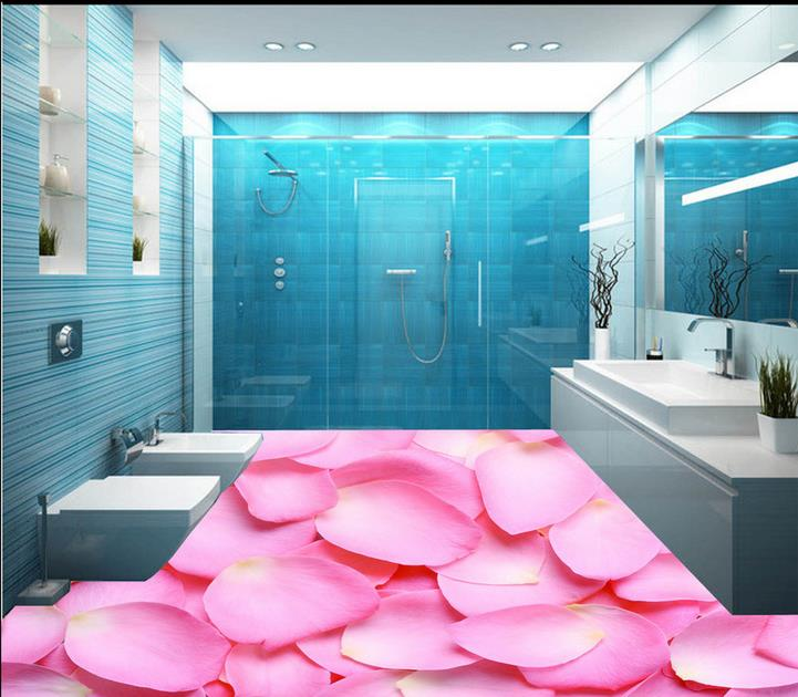 ФОТО customized 3d floor painting 3d wall murals wallpaper for living room Rose petal Waterproof wallpaper 3d floor murals