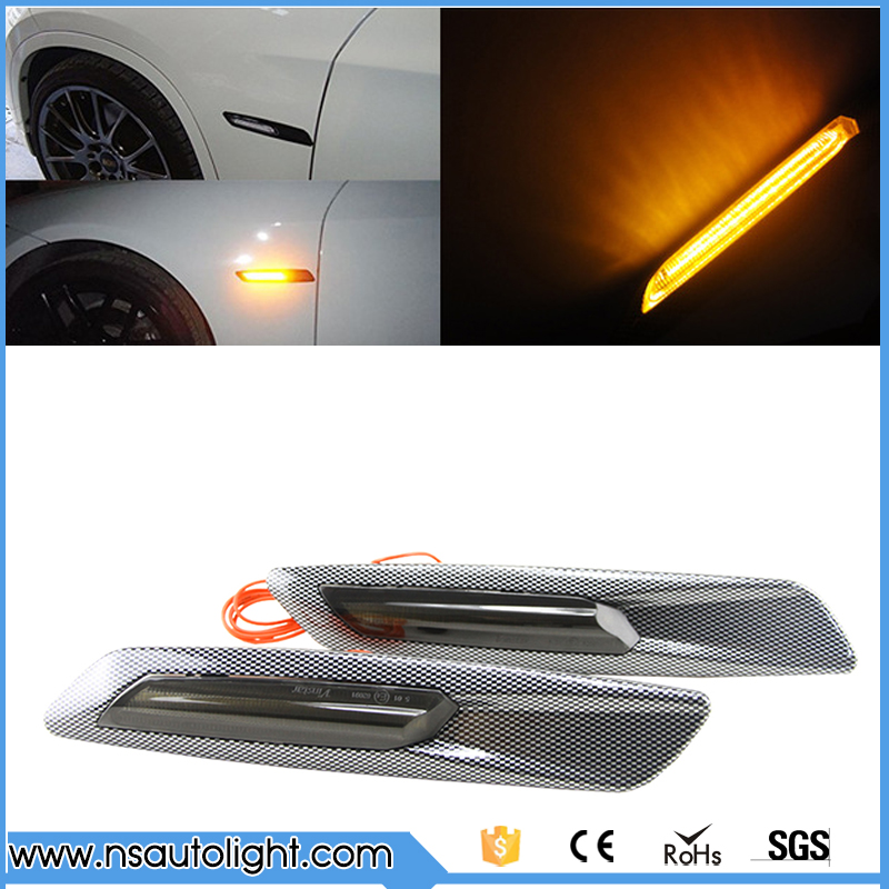 5 Types LED Side Marker Light For E81 E82 E87 E88  E60 E61 F10  Smoke Lens F10 Style smoke Lens+silver Chrome Trim free shipping