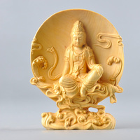 10cm Buddha carving statue Exquisite Goddess handmade solid boxwood craft Guanyin Feng shui wood Buddhism decor