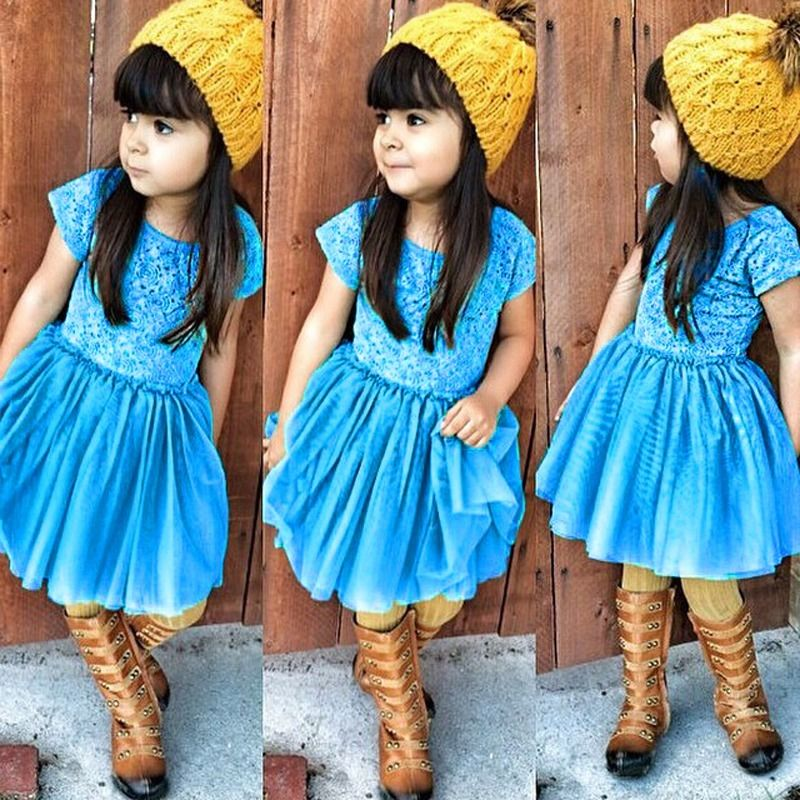 Fashion Baby Kids Girls summer Short Sleeve Blue Lace font b Dress b font for age