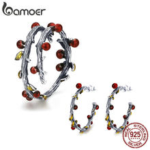 BAMOER Authentic 925 Sterling Silver Autumn Tree Leaves Branch Rings Earrings Jewelry Sets Fashion Sterling Silver Jewelry Set(China)
