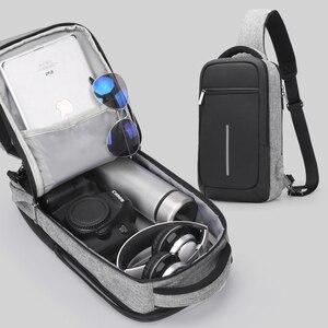Image 4 - Xincada sling saco pacote de peito ombro crossbody sacos dos homens saco do mensageiro com porta carregamento usb pequeno saco homem bolsa