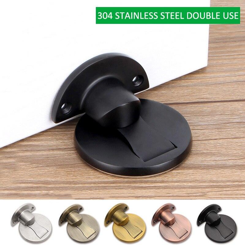 50x50x4mm Self Adhesive Magnet Door Stopper Stops Stainless Steel Holder For Toilet Glass Door Furniture --M25