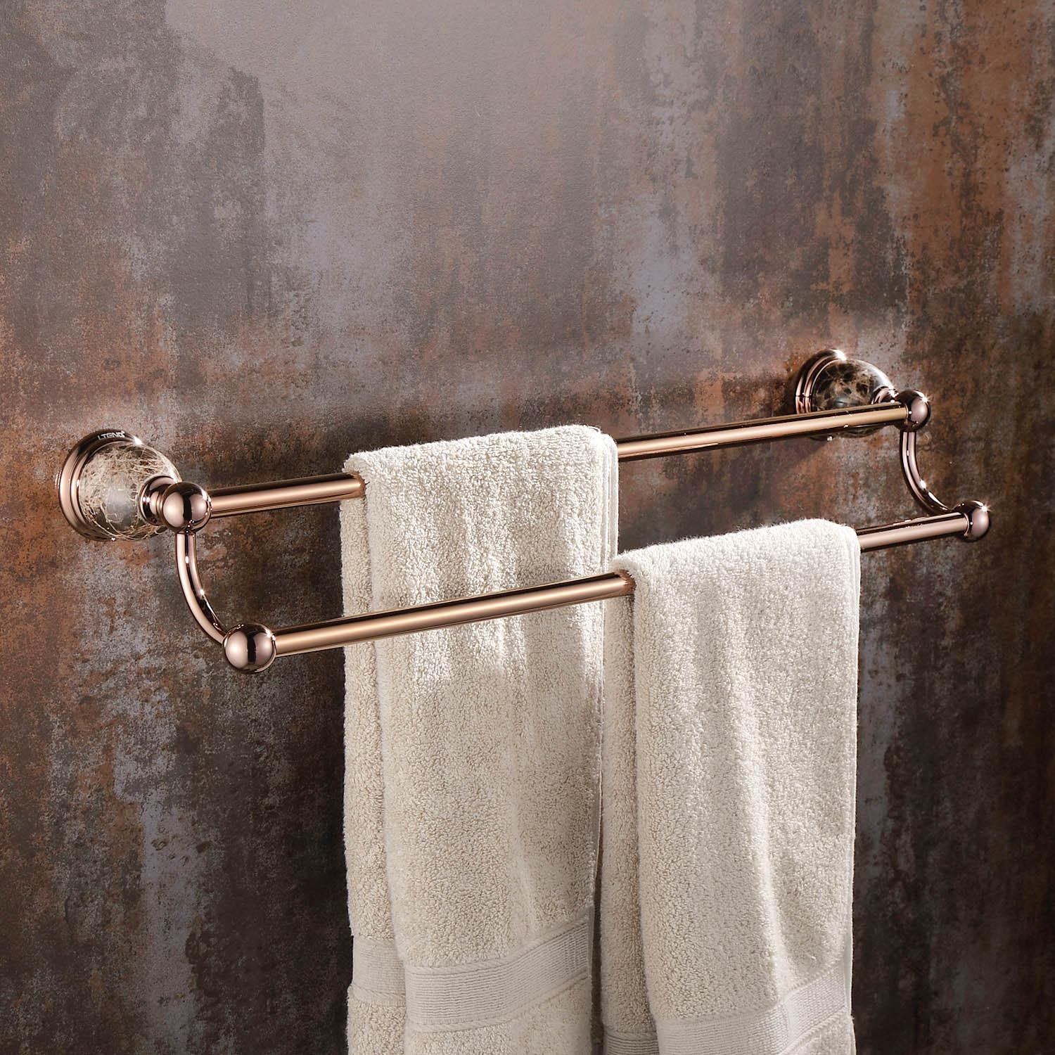 Polished Brass Bathroom Towel Bars: Modern Solid Brass Polished Towel Rack 2 Layer Rose Gold