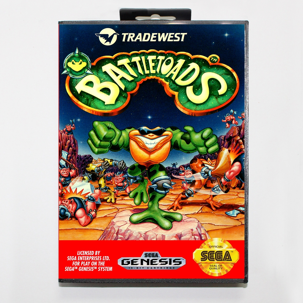 16 bit Sega MD game Cartridge with Retail box - Battletoads game card for Megadrive Genesis system