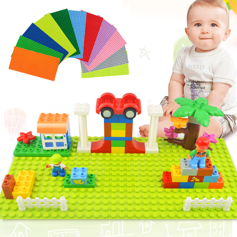 Big Size Blocks Base Plate 32*16 Dots 51*25.5cm Baseplate DIY Building Blocks Toys For Children Compatible LegoINGly Duplo Brick 2017 brand new fashion big size 40 40cm blocks diy baseplate with 50 50 dots small bricks base plate green grey blue
