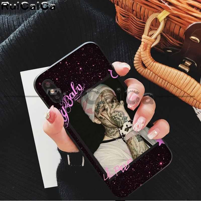 RuiCaiCa Lil Peep Lil Bo Peep miękka guma czarna obudowa telefonu dla iPhone X XS MAX 6 6s 7 7plus 8 8Plus 5 5S SE XR