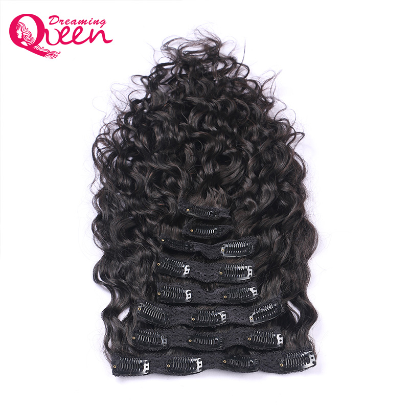 Dreaming Queen Hair Brazilian Natural Wave Clips In Human Hair Extensions 120g/Bundles 8pcs/Set Clips In Weave Machine Made Remy