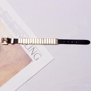 Image 5 - Новое поступление 2018, Европейская мода, Женские однотонные металлические браслеты из искусственной кожи, Женские аксессуары GWY1835
