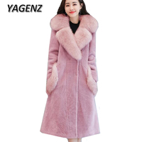 2017 Winter New Big Fur collar Women Jacket Faux fur Coats Korean Slim Temperament Solid Long Overcoat High grade Warm Fur Coats
