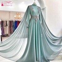 Мятно зеленый одежда с длинным рукавом высокая шея Формальное вечернее платья для мусульманских особых поводов вечерние платья с кружевом