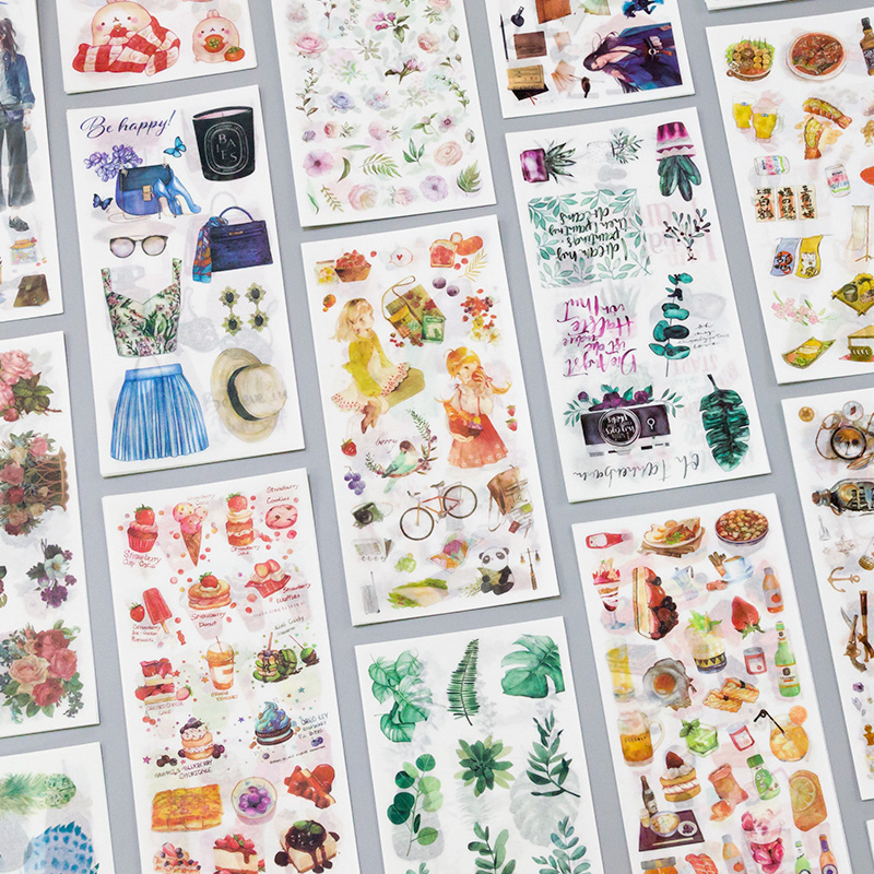 3 Sheets/pack Journey And Food Vintage Decorative Washi Stickers Scrapbooking Stick Label Diary Stationery Album Stickers