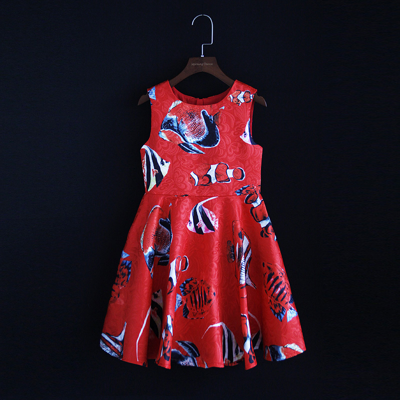 Spring family look clothes children Red Tropical fish sleeveless jacquard mini-me mom girls dress mother daughter matching dress цена