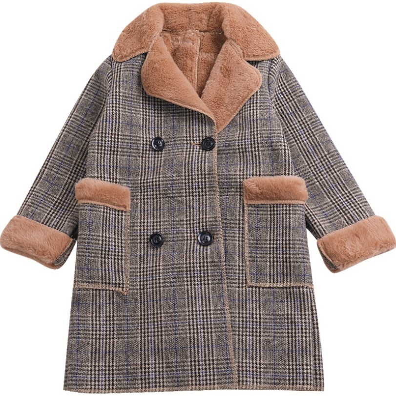 цены Kids Girl Overcoat Children's Winter Jackets New Fashion Long Plaid Wool Coat For Girls Teenage Warm Faux Fur Coats 4- 10 Years
