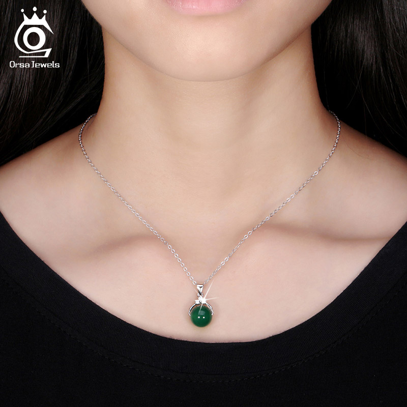 ORSA JEWELS Mode 925 Sterling Silver Pendant Kalung dengan Batu Alam - Perhiasan fashion - Foto 6