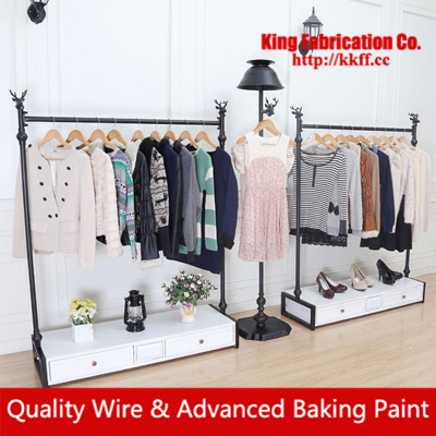 Continental floor clothing shop shelves display rack wrought iron clothes rack