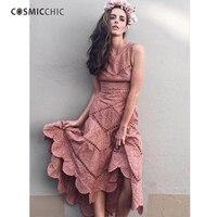 Cosmicchic взлетно посадочной полосы 2018 высокое качество вышивка платье на бретелях с v образным вырезом открытое Хлопковое платье миди нерегул