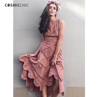 Cosmicchic Runway 2018 High Quality Embroidery Tank Dress V neck Hollow Out Cotton Midi Dress Irregular Fishtail Sexy Dresses