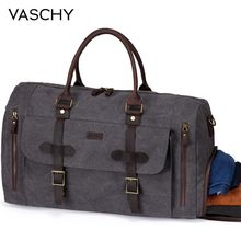VASCHY Canvas Duffel Bag Water-Resistant Waxed Large Leather Overnight Travel with Shoe Compartment 46L Carry-on Weekend