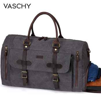 VASCHY Canvas Duffel Bag Water-Resistant Waxed Large Leather Overnight Travel Bag with Shoe Compartment 46L Carry-on Weekend Bag