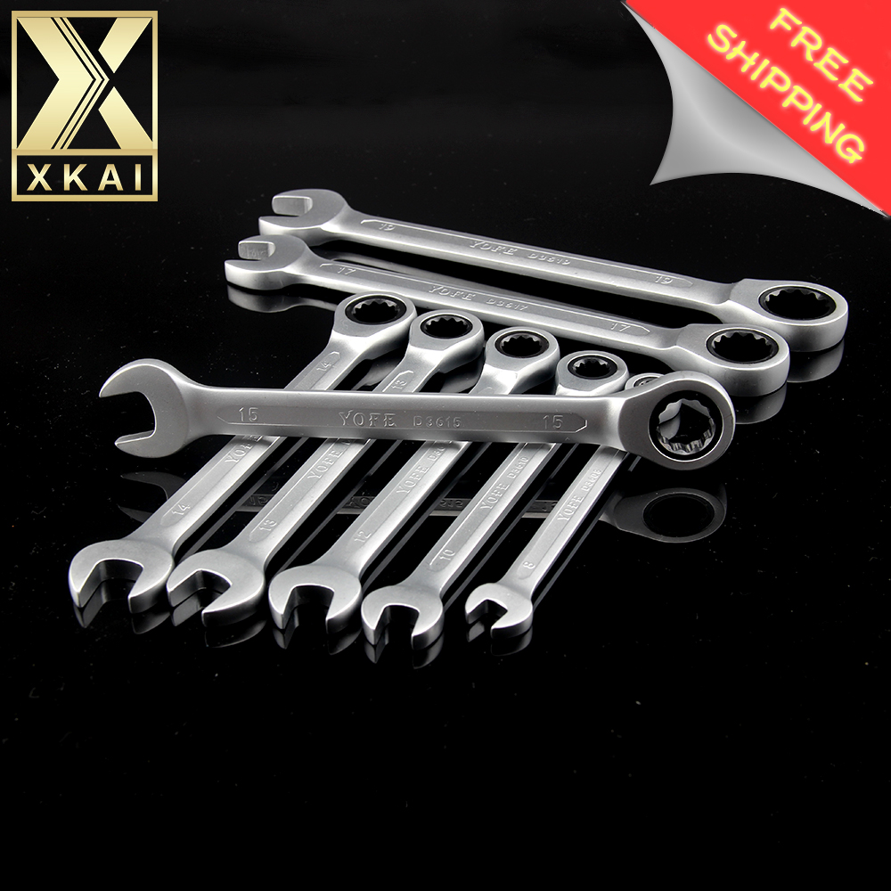 XKAI 8,10,12,13,14,15,17,19mm  Ratchet Spanner Combination wrench a set of keys gear ring wrench Chrome Vanadium YOFE Brand 7pieces metric ratchet handle wrench set spanner gear wrench key tools to car bicycle combination open end wrenches 8mm 18mm