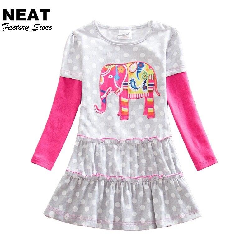 Retail Girl Dresses Gray Clothing Animal Long Sleeve Chidlren Dresses 3-7T Elegant Dresses for Girls Dot Clothes LH605