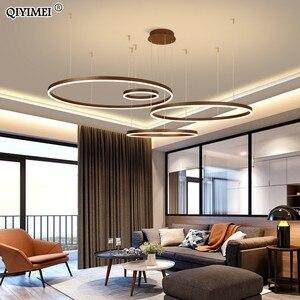 Image 2 - Suspension suspendue circulaire avec anneaux lumineux, design moderne pendentif LED, lumière à intensité réglable, Luminaire dintérieur, idéal pour un salon, une salle à manger, un café
