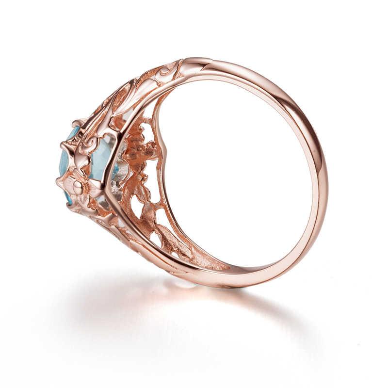 Szjnao nuevo anillo de Aguamarina Natural de las mujeres románticas occidentales de la joyería del Color del oro rosa de plata 925 personalizado