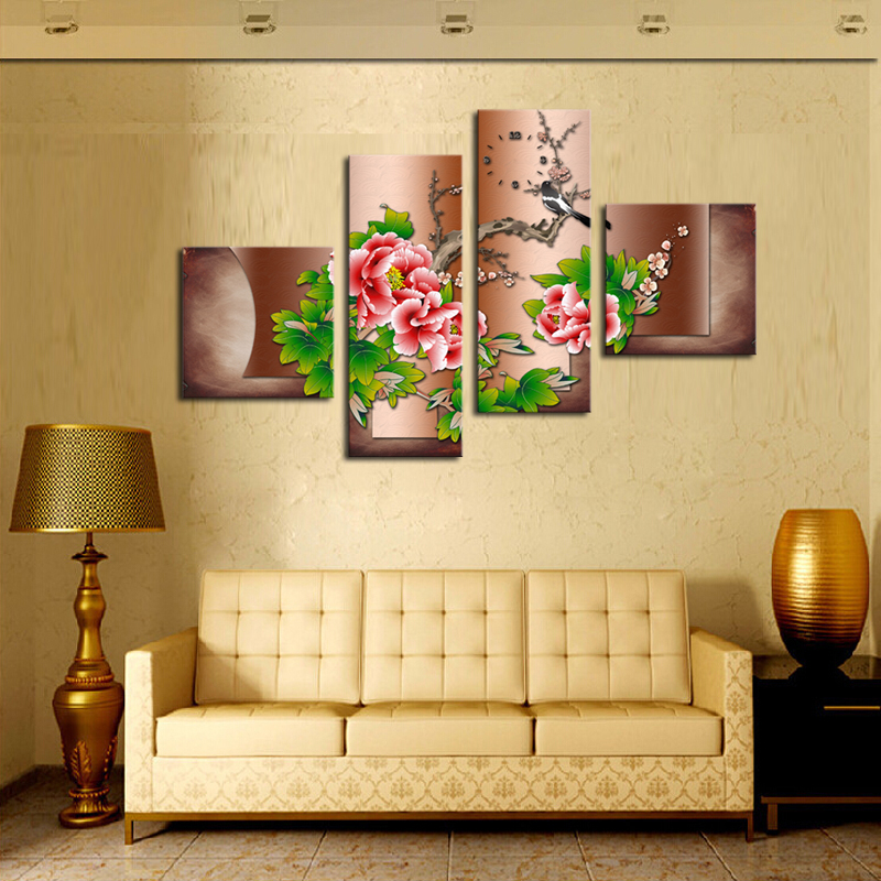 2017 New Direct Selling Unframed 4 Pcs Peony Wall Art Picture Home Decoration For Living Room Canvas Print Painting Printing On