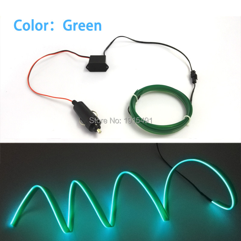 Berkualiti tinggi DC-12V Inverter + 10 Warna Pilih LED Strip Neon Cahaya 1/2/3/4 / 5Meter 2.3mm-Skirt EL Wire Tali Untuk Holiday Decorative
