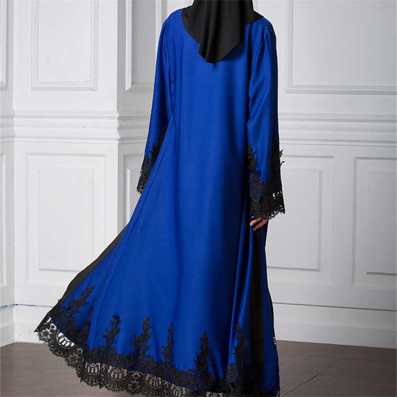 Di marca di Modo Musulmano 2019 Vestito Dalla Stampa Tessuto Caftano Vestito Blu Abito D'epoca Più Il Formato Vestaglie Morbido Abiti da Robe Abiti # D244