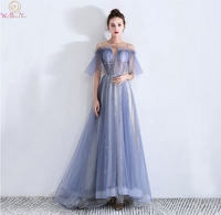 28131ac17 2019 New Blue Prom Dress Lace Up Tulle Sequined Illusion A Line Short  Sleeves O Neck