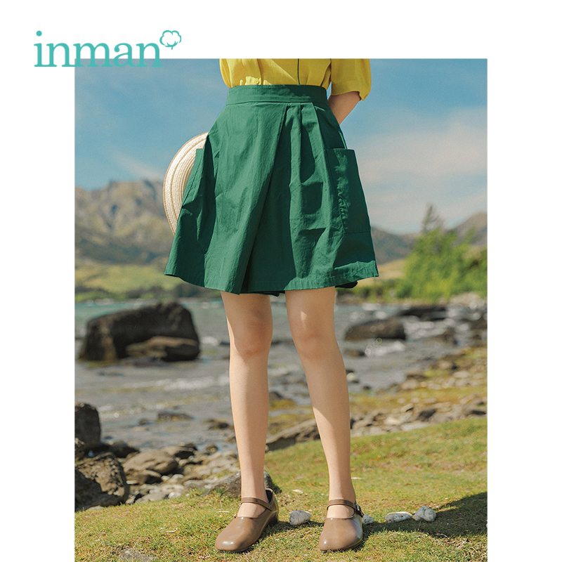 INMAN Summer 100% Cotton Minimalism Casual All Matched Literary Solid Slim Women Loose Skirt Pants