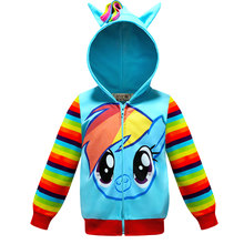 Spring Kids Girls jacket rainbow jacket New Kids Girls Rainbow Coat unicorn Children baby Boys hooded Coat children's Clothes(China)