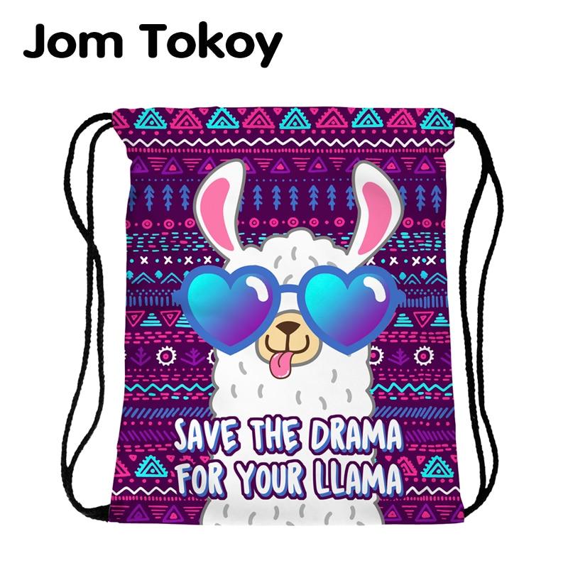 JomTokoy New Fashion Women Drawstring Backpack Alpaca Printing Travel Softback Women Mochila Drawstring Bags Skd27141