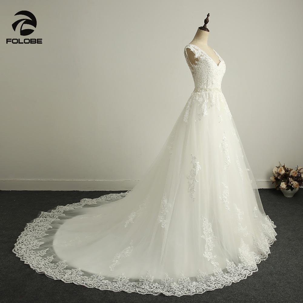 Off Shoulder Lace Appliques Crystal Vintage Wedding Dress