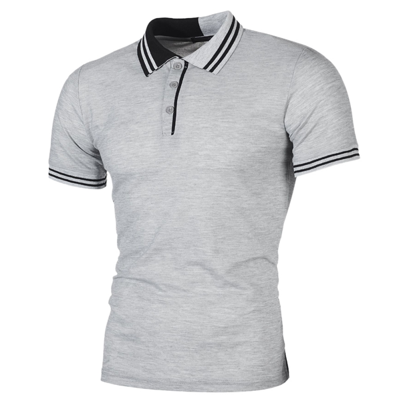 Men   Polo   Shirt Men Business & Casual Pactwork Male   Polo   Shirt Gray White Short Sleeve Breathable Shirt Men Plus Size H8