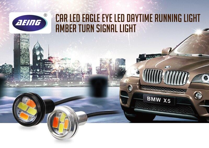 AEING 10 шт./компл. автомобильный Стайлинг ксенон белый светодиодный DRL орлиный глаз дневные ходовые огни Предупреждение ющие Противотуманные фары с янтарным поворотным сигналом