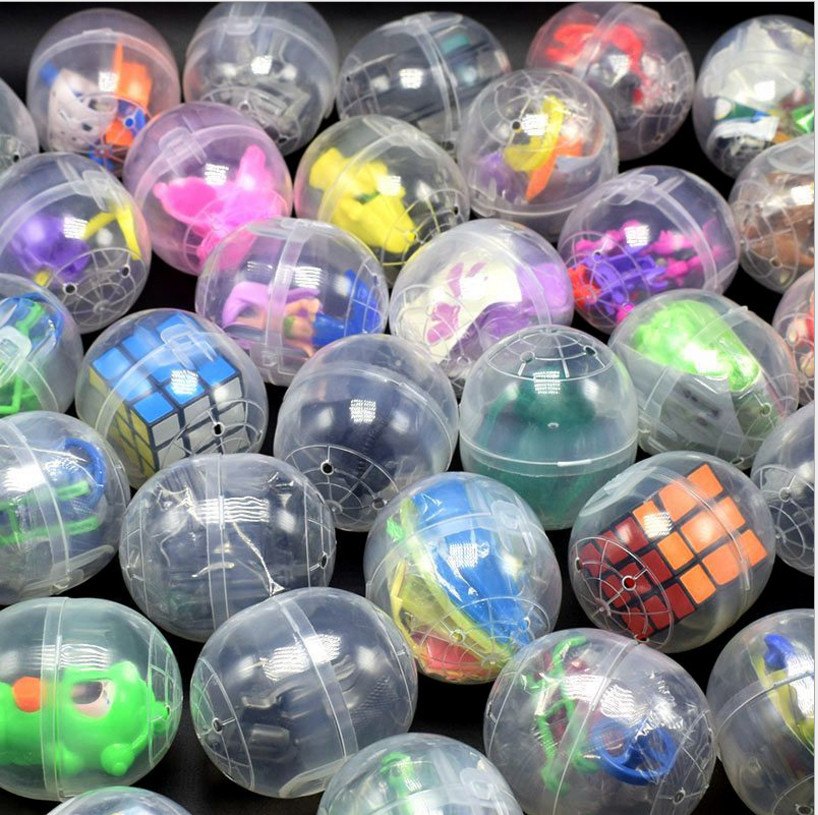 10pc/pack 47mm*55mm Clear Plastic Siamese Capsules Toy Balls With Different Toy Ramdom Mix For Vending Machine