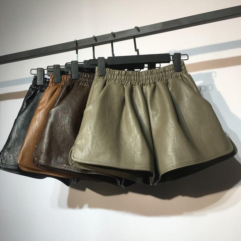 High Waist PU Leather   Shorts   Women Cool Punk Sashes Wide leg   Shorts   Autumn Winter Casual Loose Elastic Waist Leather   Shorts   2019