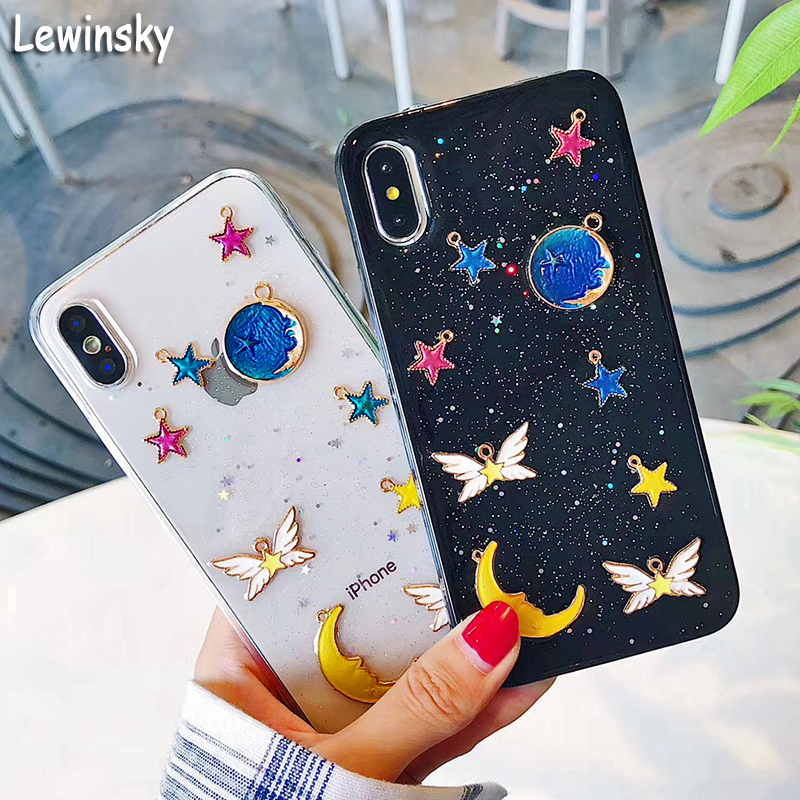 Fashion Bling Glitter Case For iphone 6 Case For iphone X 6S 8 7 PLus Back Cover Luxury Love Heart Shining Powder Phone Cases