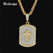 Uodesign Hip Hop Dei Monili di Cristallo Pieno Croce Dog Tag Pendant Catena Cubana Iced Out Collana Cristiana Accessori Moda(China)