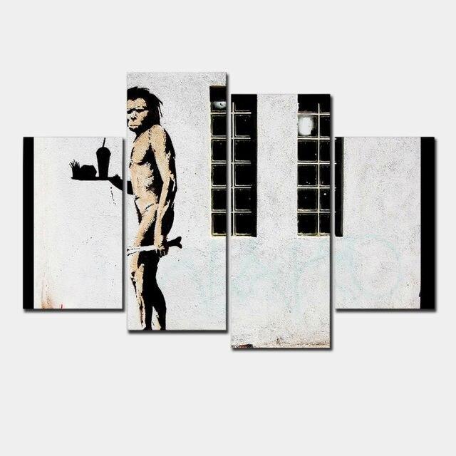 4 Teilesatz Banksy Kunst Primitive Und Snack Günstige Moderne