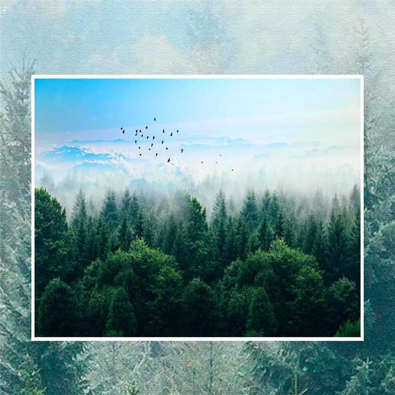 ورق حائط للزينة الشمال الحد الأدنى نمط ضباب الغابات عن بعد جبل الطيور حائط الخلفية